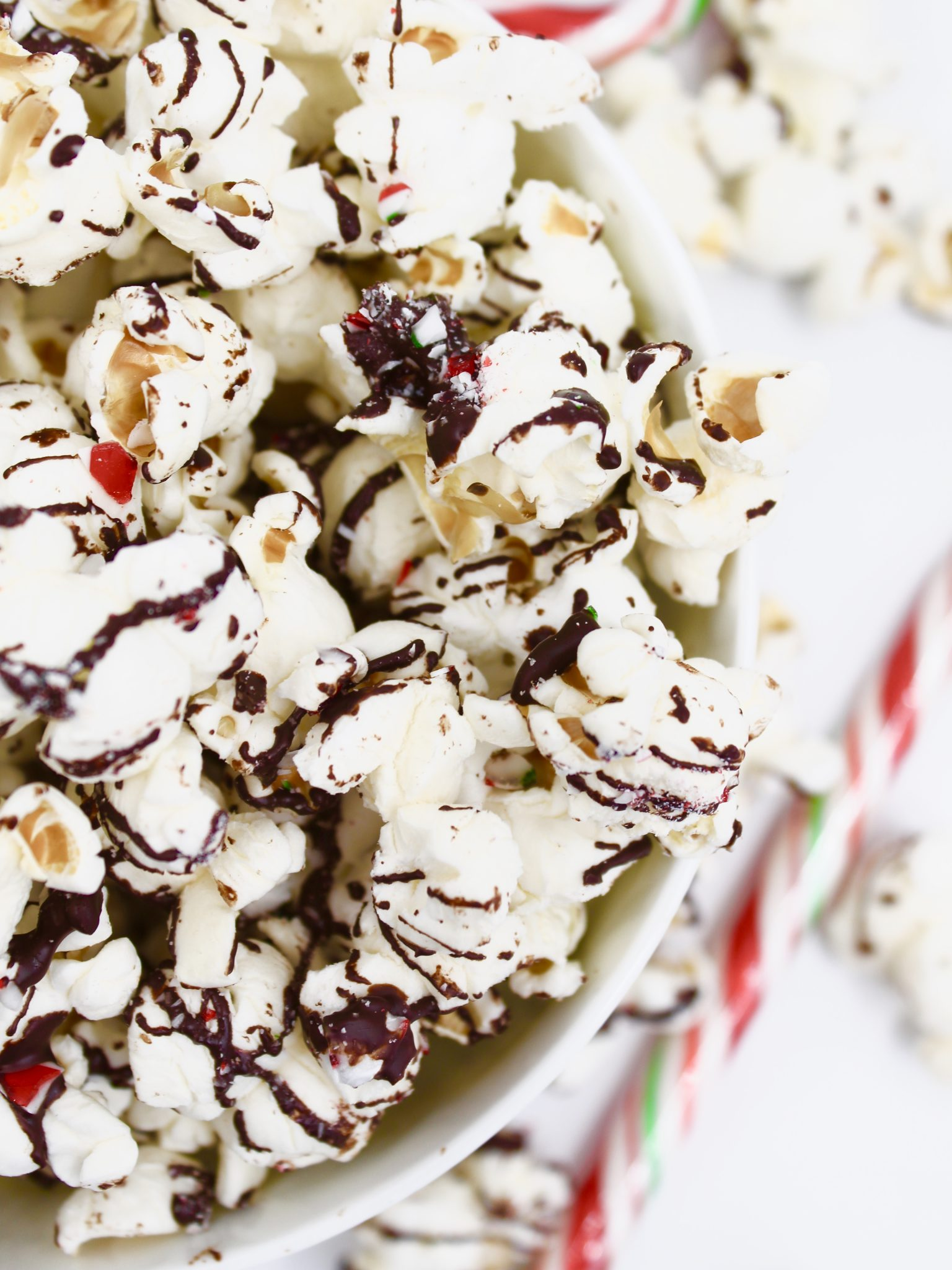 Dark Chocolate Candy Cane Popcorn