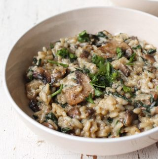 Creamy Vegan Mushroom and Spinach Risotto